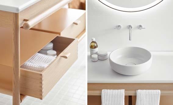 salle de bain bois blanc et cuir clair
