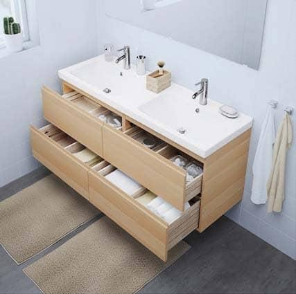 meuble bois IKEA Godmorgon salle de bain