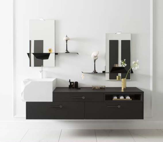 salle de bain noir et blanc miroir