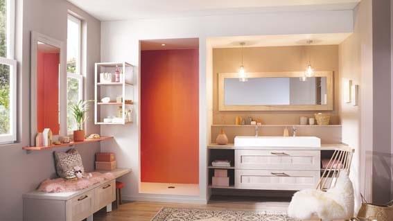 salle de bain Cuisinella bois clair et blanc style scandinave