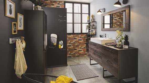 salle de bain Cuisinella noir et bois