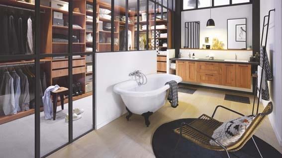 salle de bain Cuisinella style industriel verrière