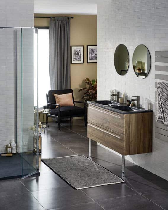 salle de bain Lapeyre bois foncé