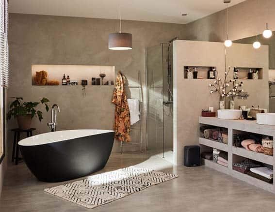 salle de bain conforama esprit zen béton ciré baignoire îlot