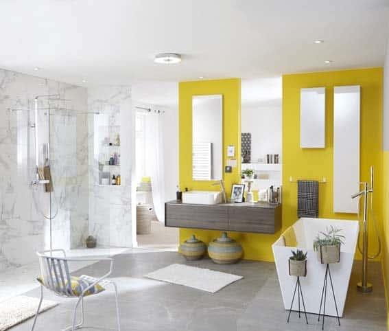 salle de bain conforama jaune design miroir