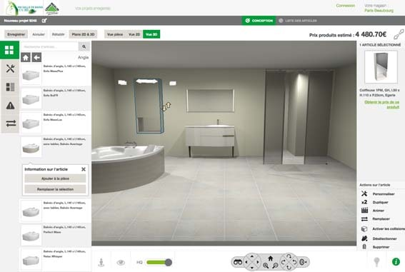 outil de conception 3D salle de bain Conforama
