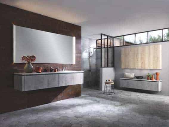 salle de bain Schmidt esprit industriel