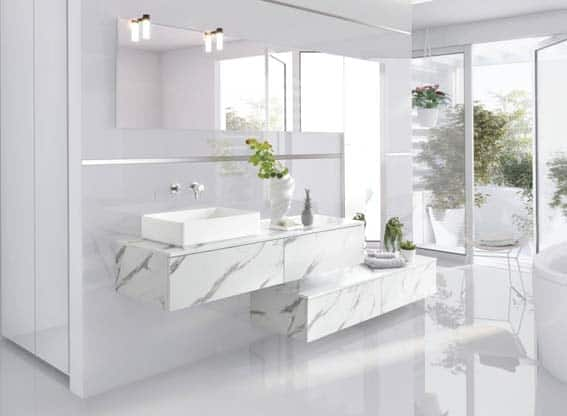 salle de bain Schmidt design marbre blanc