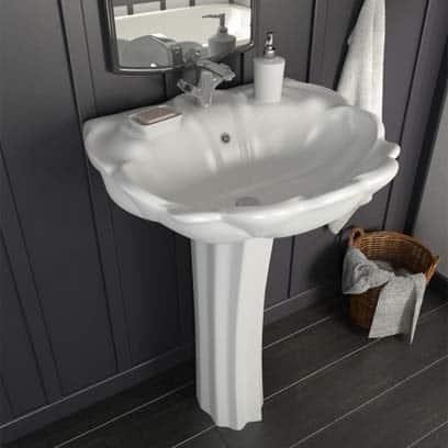lavabo baroque céramique blanc Conforama