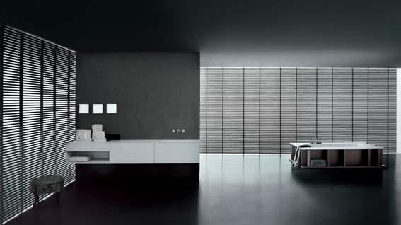 salle de bain de luxe style japonisant minimaliste sobre noir et blanc