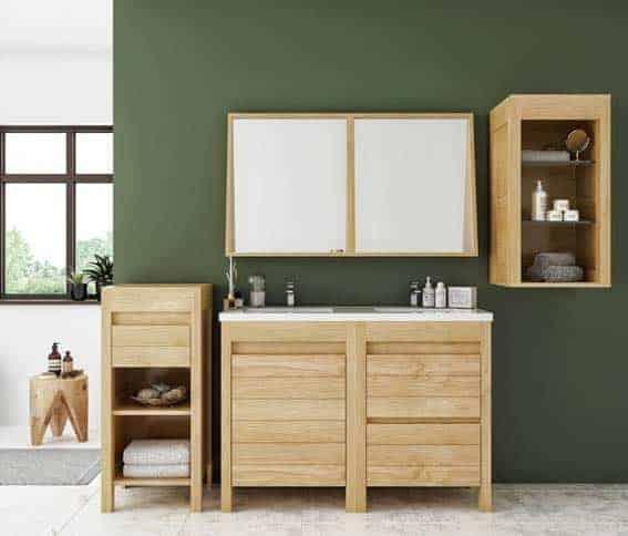 meuble salle de bain bois massif Hellin