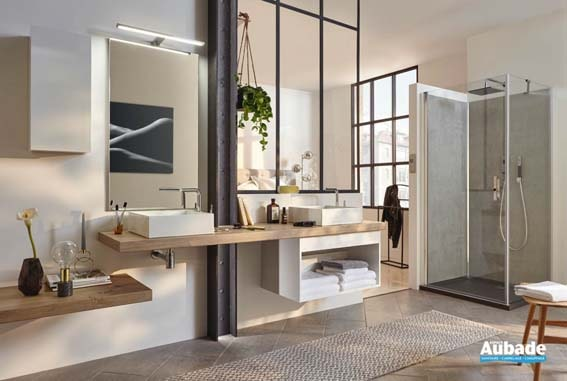 salle de bain bois et porcelain plan de toilette en bois