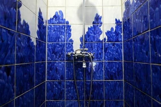 carrelage bleu porcelaine