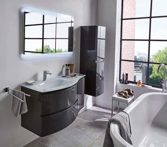 salle de bain grise meubles laqué gris foncé