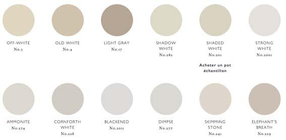 gamme de couleurs gris clairs Farrow & Ball