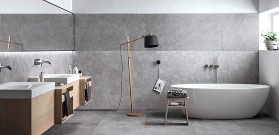 gris et bois et blanc, salle de bain scandinave