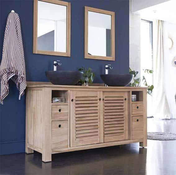 salle de bain moderne exotique bois teck