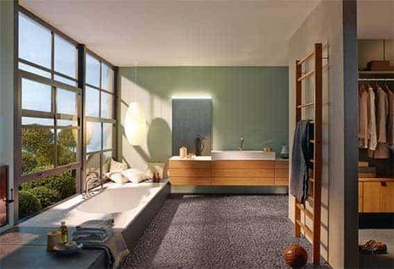 galets et matériaux naturel salle de bain moderne
