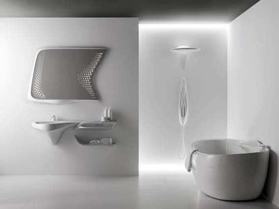 salle de bain futuriste noken porcelanosa Zaha Hadid