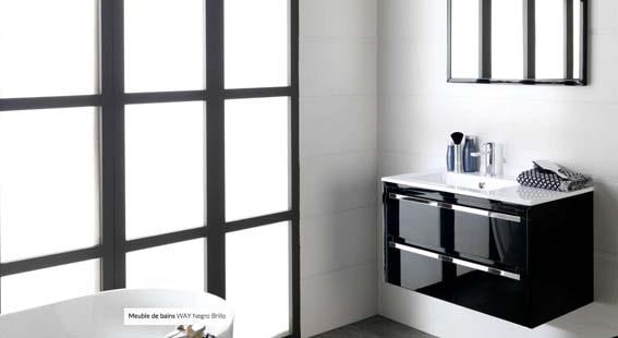 salle de bain Porcelanosa laque brillante noire