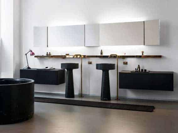 salle de bain noir et blanc marbre